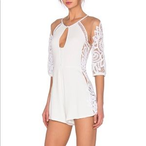 For love and lemons White Lace Valentina Romper-L
